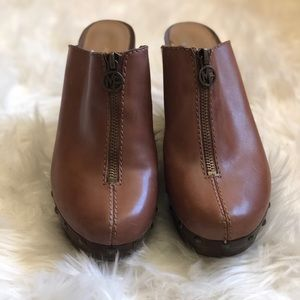 Marc Fisher Leather Corky Wedge Mules